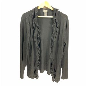 Additions by Chico's black ruffled cardigan- sz XL